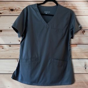 Med Couture Pewter Scrub Top-M